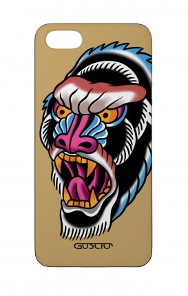 Apple iPhone 5 WHT Two-Component Cover - Ape Tattoo on ochre