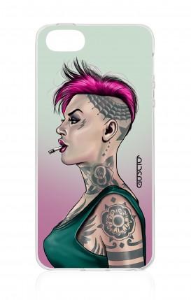 Cover Apple iPhone 5/5s/SE - Ragazza capelli fuxia