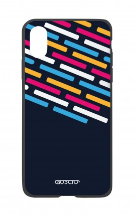 Apple iPh XS MAX WHT Two-Component Cover - Stripes on Dark Blue