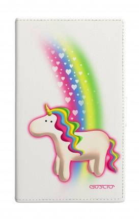 "Cover Universal Casebook MEDIUM for 4.7""-5.1'' display - Unicorno e arcobaleno bianco"
