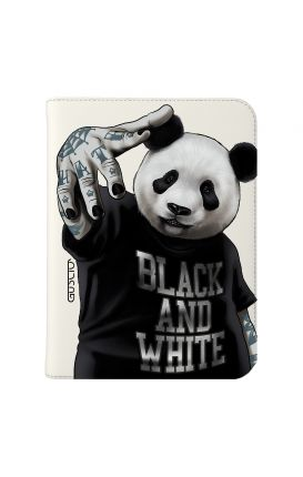 "Cover Universal Tablet Case per 7/8"" display - Panda b&w bianco"
