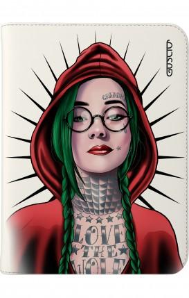 """Cover Universal Tablet Case per 7/8"""" display - Cappuccio rosso tatuata bianco"""