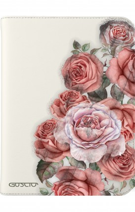 "Cover Universal Tablet Case per 7/8"" display - Bouquet di rose bianco"