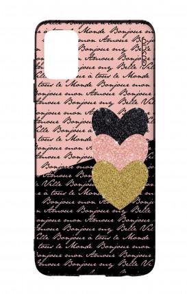 Cover Bicomponente Samsung A51 - Scritte e Cuori rosa nero