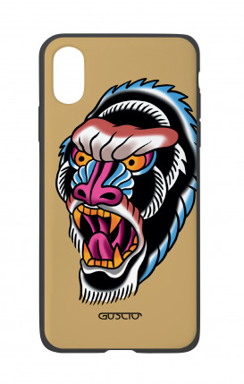 Apple iPhone X White Two-Component Cover - Ape Tattoo on ochre