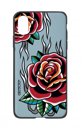 Cover Bicomponente Apple iPhone X/XS - Rose Tattoo su azzurro