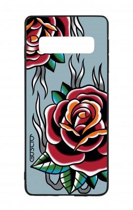 Cover Bicomponente Samsung S10Plus - Rose Tattoo su azzurro