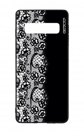 Cover Bicomponente Samsung S10Plus - Pizzo bianco e nero