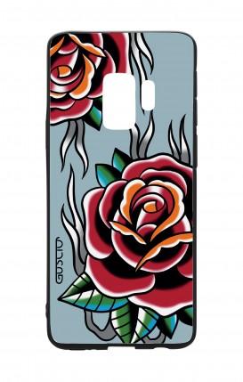 Cover Bicomponente Samsung S9 - Rose Tattoo su azzurro