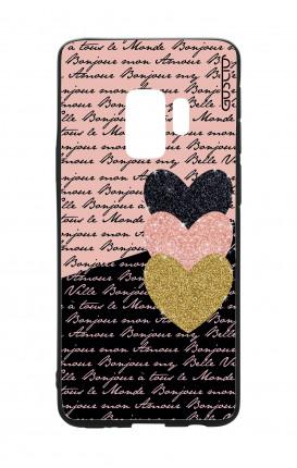 Cover Bicomponente Samsung S9 - Scritte e Cuori rosa nero
