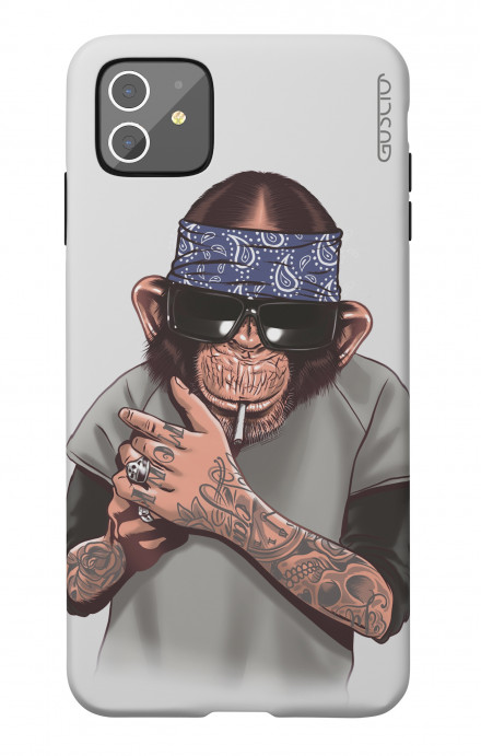 Soft Touch Case Apple iPhone 11 - Chimp with bandana