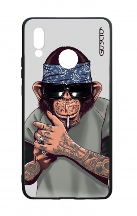 Huawei P20Lite WHT Two-Component Cover - Chimp with bandana