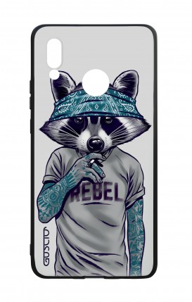 Huawei P20Lite WHT Two-Component Cover - Raccoon with bandana