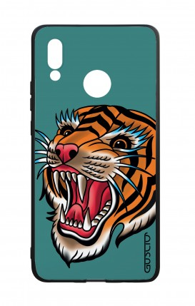 Huawei P20Lite WHT Two-Component Cover - Tiger Tattoo on teal