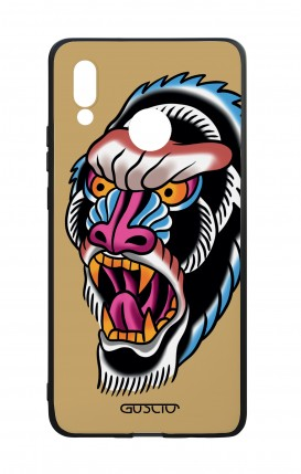 Huawei P20Lite WHT Two-Component Cover - Ape Tattoo on ochre