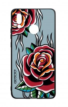 Cover Bicomponente Huawei P20Lite - Rose Tattoo su azzurro