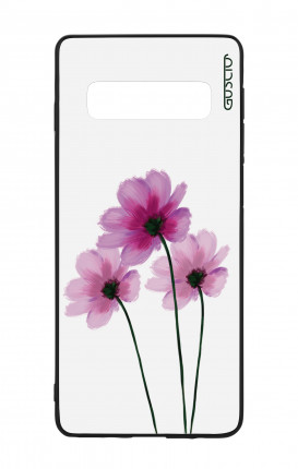Samsung S10Plus WHT Two-Component Cover - Flowers on white