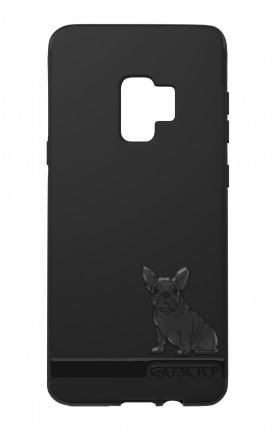 Cover Skin Feeling Samsung S9 BLACK - Bulldog francese su logo