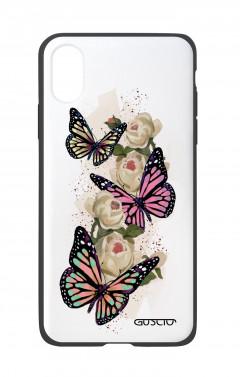 Cover Bicomponente Apple iPhone XR - Farfalle su bianco