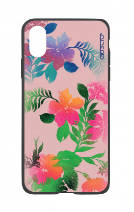 Apple iPh XS MAX WHT Two-Component Cover - Flowers Pink