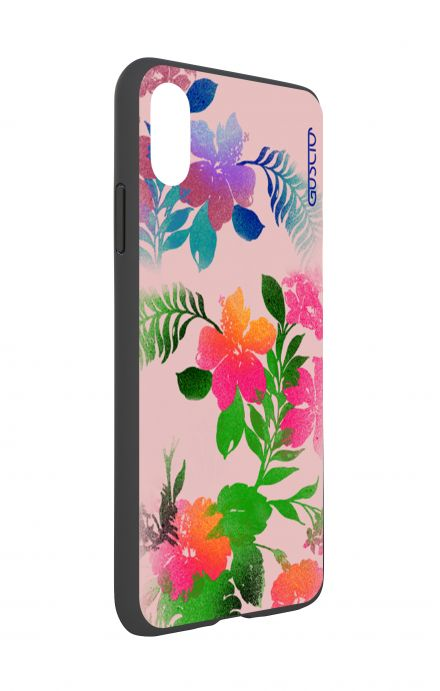 Cover Bicomponente Apple iPhone XS MAX - Fiori fondo rosa