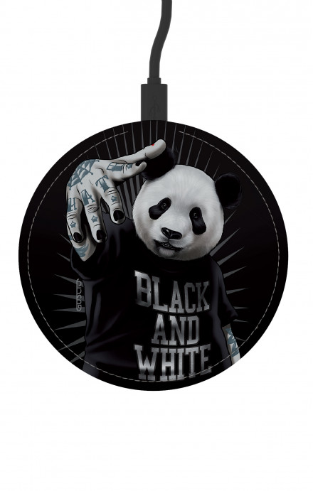 Round Wireless Charger - B&W Panda