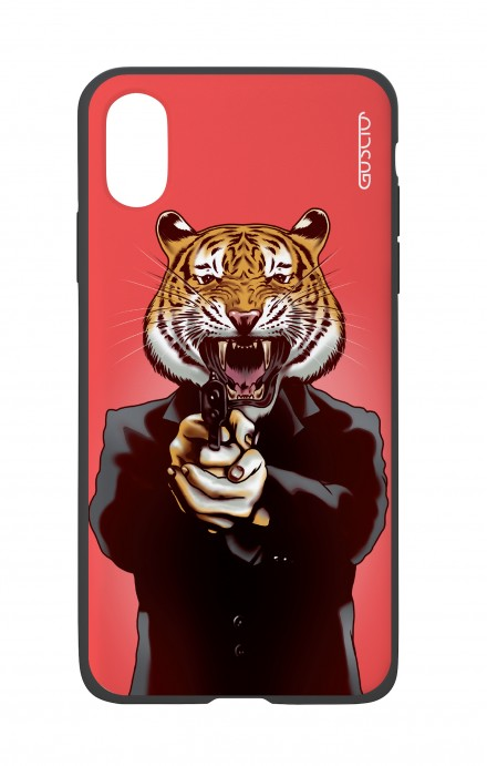 Apple iPhone XR Two-Component Cover - Tiger with Gun