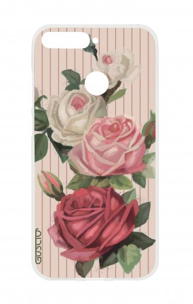 Cover Huawei Y6 2018 Prime - Rose e righe