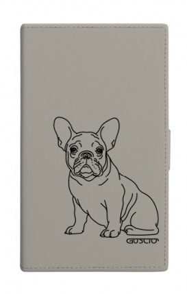 "UNV BOOK 4.7-5.1"" PU LTH GREY TG M (Tall) - French Bulldog"