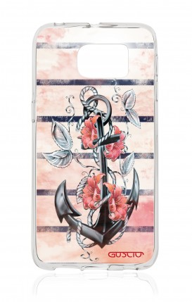 Cover Samsung Galaxy S6 Edge SM G925 - Anchor and flowers