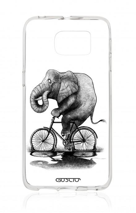Cover TPU Samsung Galaxy S6 Edge - Elefante in bici