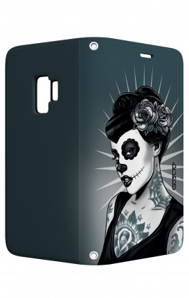 Cover STAND Samsung S9 - Calavera bianco e nero