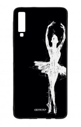 Cover Bicomponente Samsung A70  - Ballerina su nero