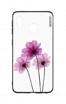 Cover Bicomponente Samsung A20e - Fiori su bianco