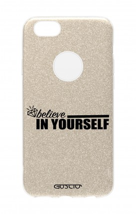 Cover GLITTER Apple iPhone 7 GLD - Believe in Yourself