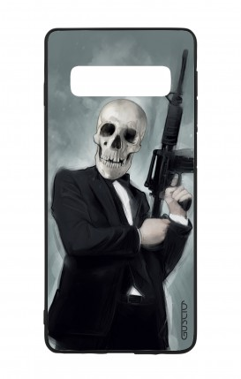Samsung S10 WHT Two-Component Cover - Skull with Tommy-Gun
