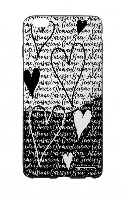 Cover Bicomponente Apple iPhone 6/6s - Scritte e cuori bianco e nero