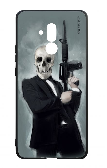 Huawei Mate20Lite WHT Two-Component Cover - Skull with Tommy-Gun