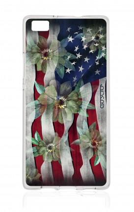 Cover Huawei P8 Lite - Bandiera americana e fiori