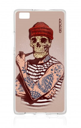Cover Huawei Ascend P8 Lite - Skull Sailor with Red Cup