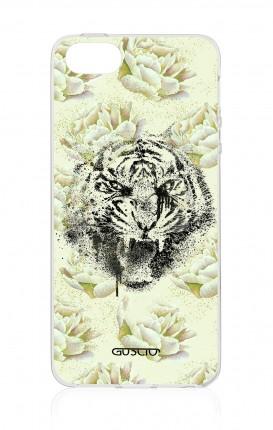 Cover TPU Apple iPhone 5/5s/SE - Tigre e fiori bianchi