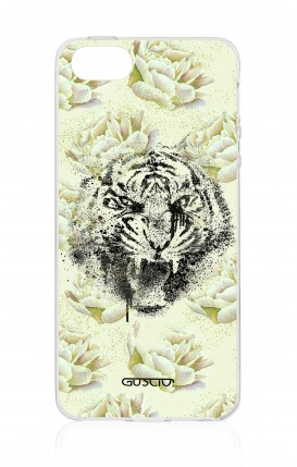 Cover Apple iPhone 5/5s/SE - Tigre e fiori bianchi