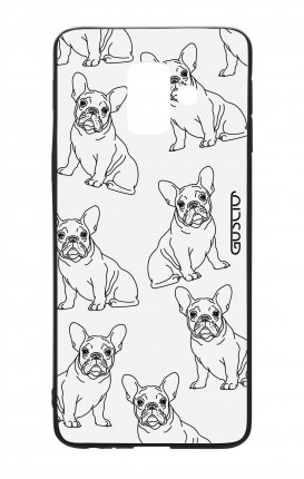 Samsung A6 Plus WHT Two-Component Cover - French Bulldog Pattern