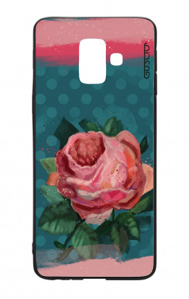 Samsung A6 Plus WHT Two-Component Cover - Blue polka dot and rose