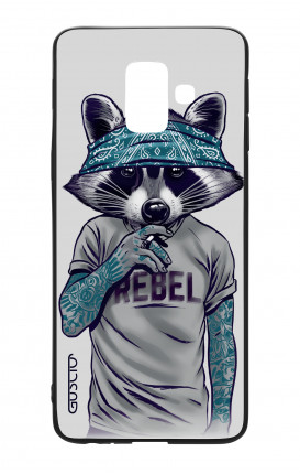 Samsung A6 Plus WHT Two-Component Cover - Raccoon with bandana