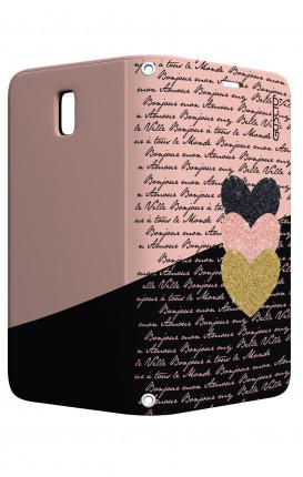 Cover STAND Samsung J3 2017 - Scritte e Cuori rosa nero