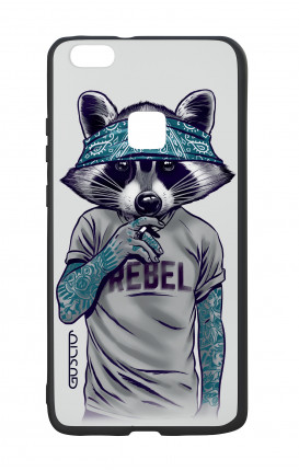 Huawei P10Lite White Two-Component Cover - Raccoon with bandana