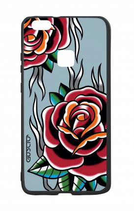 Cover Bicomponente Huawei P10Lite - Rose Tattoo su azzurro