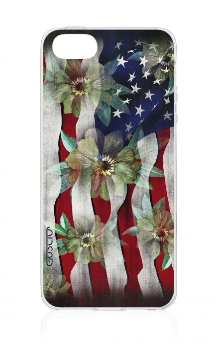 Cover Apple iPhone 5/5s/SE - USA Flag&Flowers