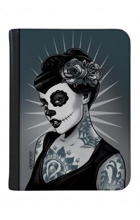 """Cover Universal Tablet Case per 9/10"""" display - Calavera bianco e nero"""